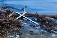 drift wood cross - stock photo