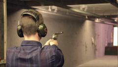 Man shoots the Ruger RedHawk .44 Magnum Stock Footage