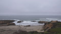 Scenic wide shot of Pescadero Beach Stock Footage