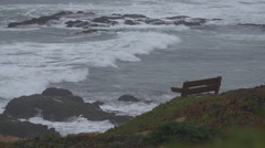 Empty Bench on Californai Coast Stock Footage