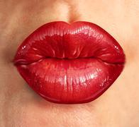 Human kiss lips Stock Illustration