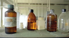 Laboratory with a lot of bottles Stock Footage