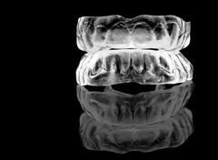 acrylic-silicon denture- full front set - stock photo