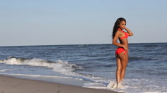 Stock Video Footage of Model on the Beach