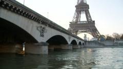 eiffel tower paris - across the seine at Pont d'Iéna - stock footage