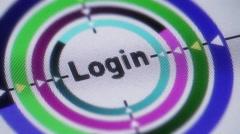 """Login"" on the screen. Looping. Stock Footage"