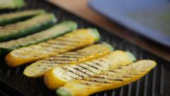 Zucchini on grill from flame Stock Footage