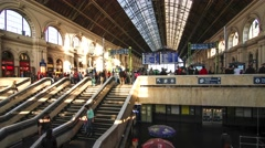 Interior of the famous Keleti palyaudvar Train station in Budapest Stock Footage
