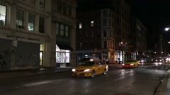 Broadway Taxis Night Manhattan New York City Downtown NYC Traffic Driving - stock footage