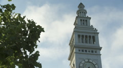 Slow motion ferry building clock tower san francisco Stock Footage