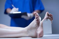 Nurse in a mortuary Stock Photos