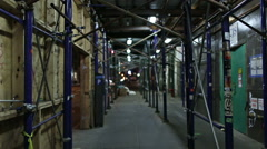 Scaffolding Boarded Up Manhattan New York City NYC Night Cars Broadway Gritty Stock Footage