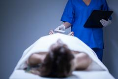 corpse of woman in the morgue - stock photo