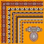 collection of ornamental floral vintage frame design - stock illustration