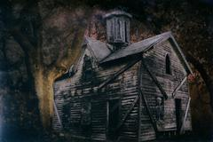Haunted Halloween House 1 - stock photo