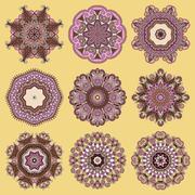 Circle lace ornament, round ornamental geometric doily pattern c - stock illustration