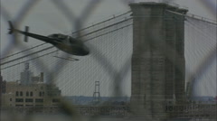 Helicopter (NYPD) Flying in New York City Stock Footage