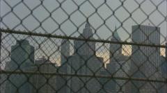 New York City Skyline Through Fence Stock Footage