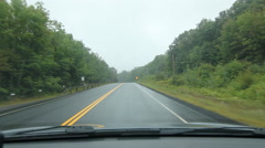 Driving POV in Muskoka. Misty rural corner. Stock Footage