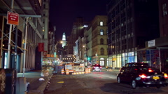 Broadway Downtown Manhattan Construction Arrow Traffic Cars Taxis NYC Night Stock Footage