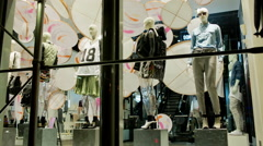 Window Dressing Mannequins Clothing Store Night Closed After Hours Manhattan NYC Stock Footage