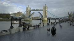 London: Tower Bridge Opening Stock Footage