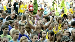 Crowd of spectators at a concert open air Stock Footage