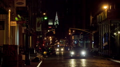 SoHo Night Dark Street Car Headlights Manhattan New York City NYC Stock Footage