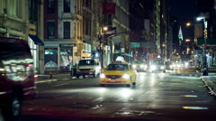 Broadway Downtown Manhattan Chrysler Traffic Cars Taxis NYC Night Stock Footage