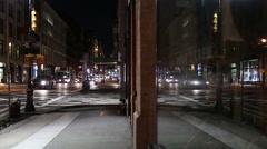 Broadway Store Window Night Glass Reflection Manhattan New York City Cars NYC Stock Footage