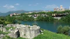 Europe Italy Liguria region city of Albenga 001 ruins at Centa river Stock Footage