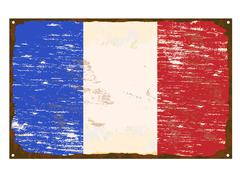 French flag enamel sign Stock Illustration