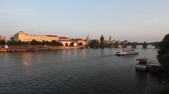 View at the Vitava River in Prague and the Charles Bridge Stock Footage