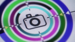 Camera icon on the screen. looping. Stock Footage