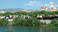 Europe Italy Liguria region city of Albenga 003 cityscape at Centa riverside Stock Footage