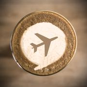 travel concept on coffee latte art morning everyday - stock photo