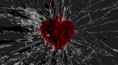 Shattered glass: red broken heart shape. Alpha is included - stock footage