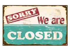 Shop closed enamel sign Stock Illustration