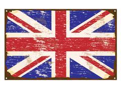 Uk flag enamel sign Stock Illustration