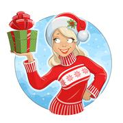 Stock Illustration of Girl in Santa Claus costume with gift box