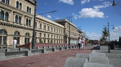 Corvinus building in Budapest Stock Footage