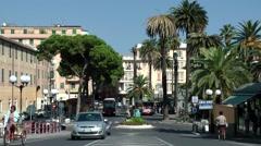 Europe Italy Liguria region city of Albenga 005 street view on Centa bridge Stock Footage