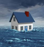 house flood - stock illustration