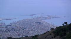 Aerial view of Trapani city from Mount Erice at evening twilight. Stock Footage