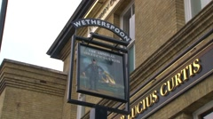 Wetherspoon Pub Sign - stock footage