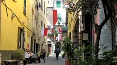Europe Italy Liguria region city of Albenga 015 street view of old alley Stock Footage