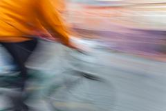 Cyclist in motion blur Stock Photos