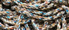 nylon rope for sea fishermen in the harbour area - stock photo