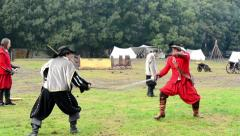 Knights duel - soldiers fight each other - military - battleground (army forces) Stock Footage