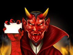 devil holding sign - stock illustration